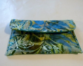 Turquoise Butterfly Batik Make Up Bag/Clutch