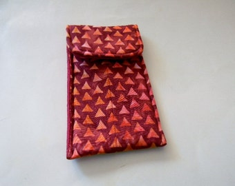 Red and Orange Triangles Batik Glasses Case