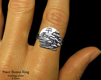 Peace Bonsai Ring Sterling Silver with Sun and Japanese Kanji