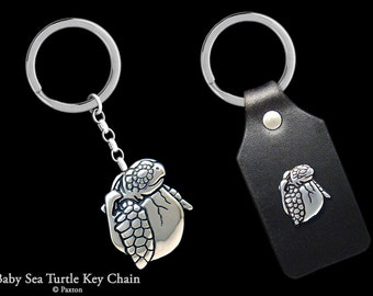 baby Sea Turtle Keychain / Keyring all Sterling Silver or Sea Turtle Hatching on Genuine Leather Key Fob