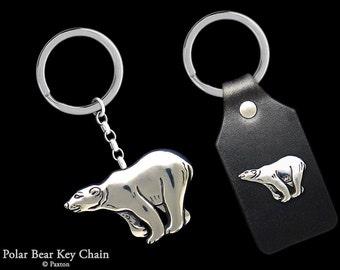 Polar Bear Keychain / Keyring all Sterling Silver or Polar Bear on Genuine Leather Key Fob