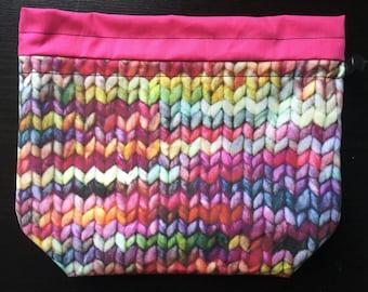 Bright Knit Print Drawstring Bag