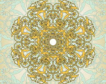 Wall art print, Flower Mandala Print, yellow mint green, yoga studio, Home decor, living room, bed room, office (b01b1-5)