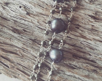 Triple strand sterling silver bracelet with pyrite and pearl