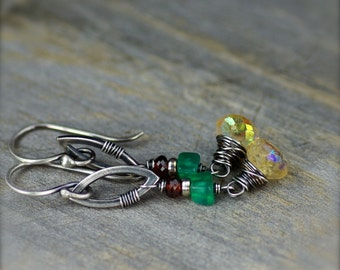Mystic Citrine, Green Onyx, and Garnet Gemstone Earrings on Oxidized Sterling Silver November Birthstone