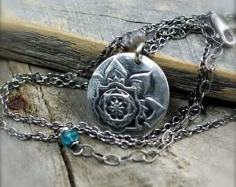 Fine Silver Mandala Necklace.  Fine Silver Pendant.  Layering Necklace.