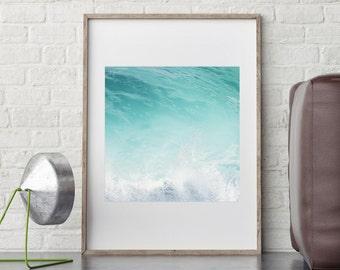 Ocean Art Print, Large Printable Poster, Digital Download, Waves, Water, Coastal Wall Decor, Beach Art, Modern Minimalist, Turquoise Blue