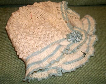 Vintage ANTIQUE Handmade Crochet Knitting Baby Bonnet