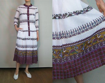 70s White Ethnic Folk Print Gauze Dress