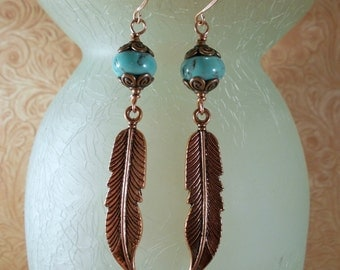Western Rodeo Cowgirl Earrings - Turquoise Howlite with Copper Feathers
