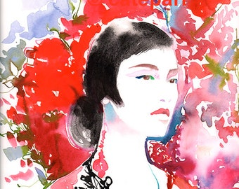 China Girl Print, Chinese Fashion Illustration, Watercolor Fashion Illustration, Chinese Model, Chinese Portrait, Chinese Girl Watercolor