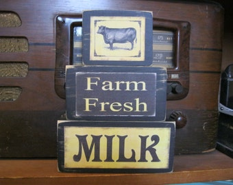 Farm Fresh Milk with Cow Country Primitive Rustic Stacking Blocks Wooden Sign Set
