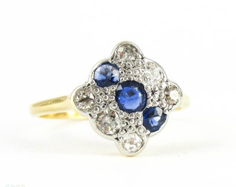 Art Deco Diamond & Sapphire Square Engagement Ring. Panel Triple Row Blue Sapphire and Old European Cut Diamond Ring, 18ct PLAT