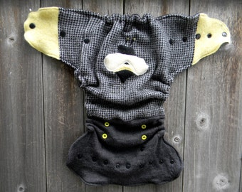 Upcycled Wool Nappy Cover Diaper Cover Wrap Cloth Diaper Cover One Size Fits Most Black/White Pattern With Bee Applique/ Charcoal Gray