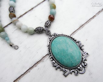 SERENITY .:. Natural Amazonite gemstone beaded necklace with large amazonite cabochon, vintage silver accents