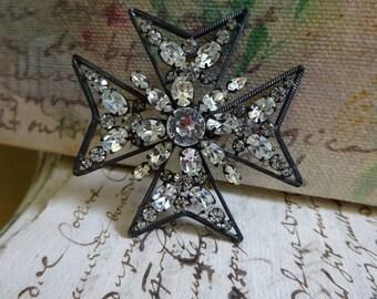 AMAZING X-Large Vintage Maltese Cross Brooch - Clear Rhinestone - Signed Schreiner New York