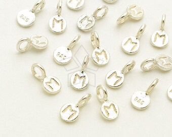 IN-590-SS / 2 Pcs - Tiny Initial Circle Charm, Mini Letter Charm, Initial Tag, Upper case M, 925 Sterling Silver / 3mm