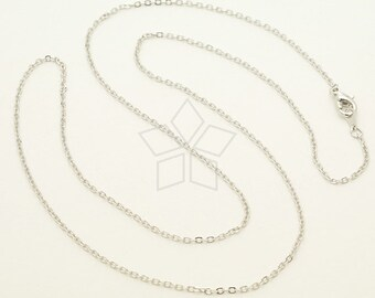 "XCH-147-OR / 10 Pcs - 19.5"" Long Chain Necklace with Lobster Clasp (SF235), Silver Plated over Brass / 19.5 inch"