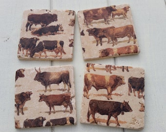 Bulls/Cows Stone Coaster Set of 4 Tea Coffee Beer Coasters