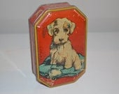 Vintage toffee tin Blue bird candy advertising dog puppy