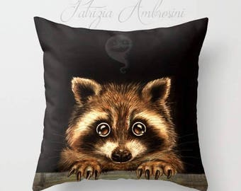 "Pillow  "" Behind you  "" PRINT art.. animal art - woodland, racoon- fine art -living room - childrens room - nursery - babies -ghost"