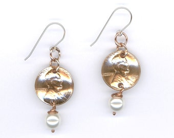 50th Birthday Gift Ideas For Her Handmade 1967 Penny Earrings 50th Anniversary Gift Swarovski Crystal Pearl 1967 Coins June Birthstones