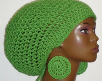 Apple Green Crochet Large Tam Hat with Drawstring and Earrings Dreadlocks Rasta Tam by Razonda Lee Razondalee