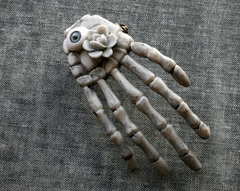 Skeleton Hand Brooch Eyeball Brooch Creepy Weird