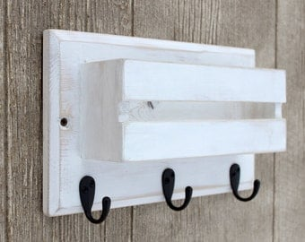 Coffee Mug Holder, Rustic Decor, Entryway Wall Organizer, Dog Leash Holder, Mail Organizer, Key Holder, Mail Holder, Key Hook