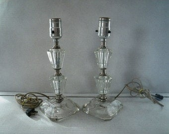Stacked Glass Boudoir Lamps  Matched Pair Set of Two