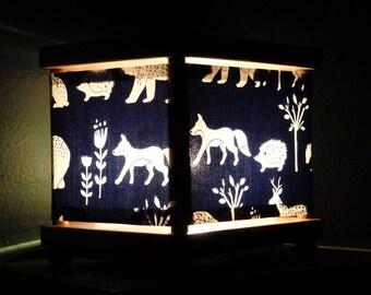 Woodland Animal Night Light Fox Hedgehog Bear Navy & White