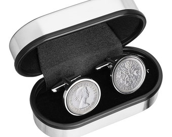 50th Birthday Gift - Lucky 1967 Old English sixpence Cufflinks made with Genuine coins from England - Cufflinks for Men