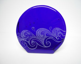 Carved Blenko Paperweight