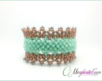 Bead tutorial| How to make Glam bracelet with swarovski and superduo beads | bead pattern