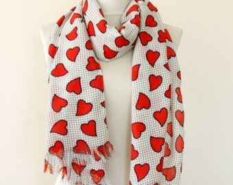 Hearts scarf, Red heart scarf, red and cream scarf, valentines day gift for her, womens scarf, girlfriend gift