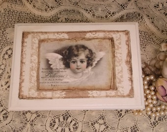 Shabby, French Country storage box, shabby white, Romantic victorian Angel