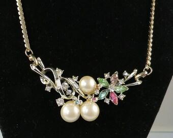 1950s CORO-Style Floral Motif Necklace ~ Faux Pearls & Rhinestones Necklace ~ Vintage 17-Inch Necklace