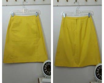 "Vintage 60s Mini Skirt by Lady VanHeusen, Egg Yolk Yellow,  Size 24.5""  Waist, #65274"