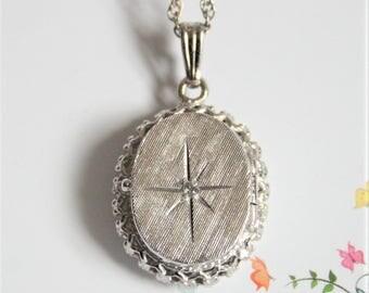 Vintage sterling silver locket. Oval locket. Crystal locket. Sterling silver chain