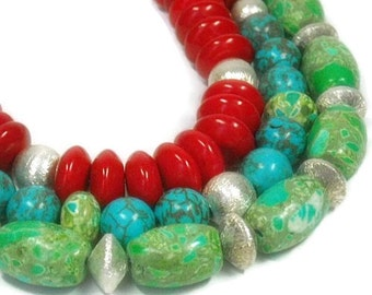 Mixed Gemstone Necklace, Layered Gemstone, Multistrand, Turquoise, Multi Strand Necklace, Red, Green, Chunky, Boho Jewelry, Triple Strand