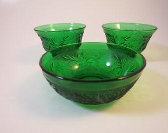 3 Green Bowls Vintage Anchor Hocking Sandwich Glass Pattern Custard Sherbet Berry Bowls 1950s