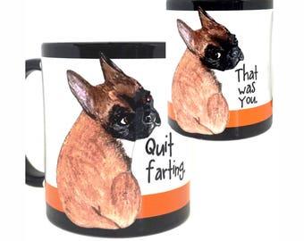 Black and Tan Farting French Bulldog Black Mug Cup by Pithitude
