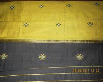 Sari scarf, sari shawl, yellow, black, cotton