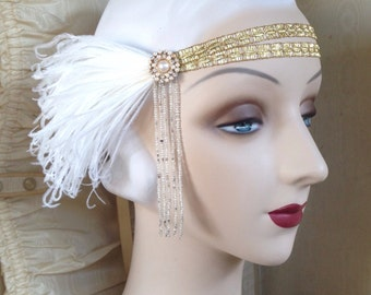 flapper headband with 20's beading, sequined flower vintage rhinestones and white feathers - andromeda in gold-  ready to ship