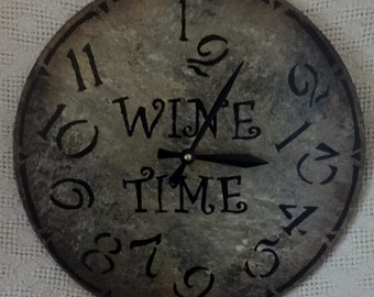 12 inch WINE TIME Wall CLOCK with Jumbled Numbers in Warm Earth Shades