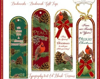 Printable Christmas Bookmarks, Gift Tags, Digital Bookmark, Red Cardinal Bird w Pine Cones gold glitter ribbon, hand painted artwork