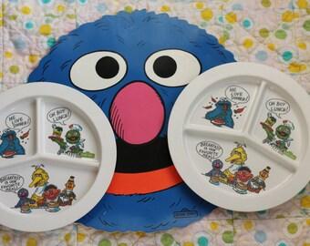 Vintage Sesame Street Set Two Plates Grover Placemat Table Children Dish Dinnerware Big Bird Cookie Monster Oscar Ernie Bert Seventies