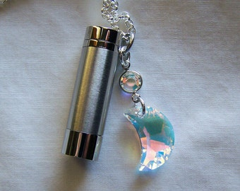 Silver Kaleidoscope with Swarovski AB Crystal Moon Pendant
