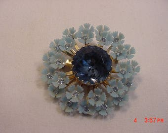 Vintage Blue Plastic Flower Brooch With Rhinestone Accents  17 - 641