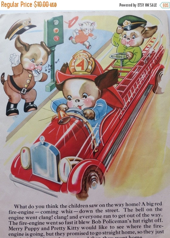 ON SALE Vintage Ruth Newton Childrens Nursery Rhyme Book Print-Firemen Pups-Book Plate